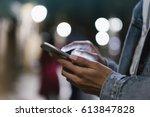 girl pointing finger on screen... | Shutterstock . vector #613847828