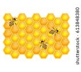 Bees On Honeycombs Isolated On...