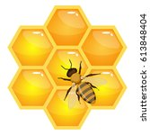 bee on honeycombs isolated on... | Shutterstock .eps vector #613848404