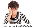 disappointed asian girl | Shutterstock . vector #613848434