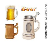 beer mugs set isolated on white ... | Shutterstock .eps vector #613848770