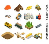 flat isometric gold coal and... | Shutterstock .eps vector #613848926