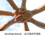 hands of group people team... | Shutterstock . vector #613849388