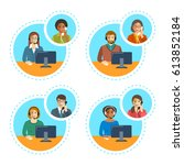 call center agents team talking ... | Shutterstock . vector #613852184