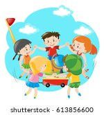 kids holding hands around the... | Shutterstock .eps vector #613856600