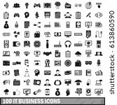 100 it business icons set in... | Shutterstock .eps vector #613860590