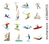 flat active young people... | Shutterstock .eps vector #613860923