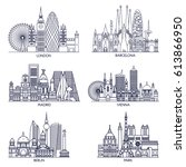 skyline detailed silhouette set ... | Shutterstock .eps vector #613866950