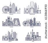skyline detailed silhouette set ... | Shutterstock .eps vector #613866950