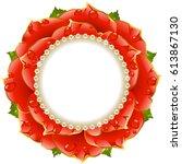 red floral circle frame. flower ... | Shutterstock .eps vector #613867130