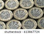 Small photo of layer of new pound coins introduced in Britain in 2017