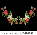 embroidery for the collar line. ... | Shutterstock .eps vector #613870139