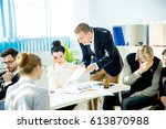angry boss yelling | Shutterstock . vector #613870988
