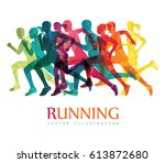 running marathon  people run ... | Shutterstock .eps vector #613872680