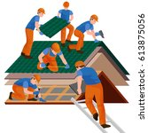 roof construction worker repair ... | Shutterstock .eps vector #613875056