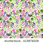 watercolor texture with flowers ... | Shutterstock . vector #613876028