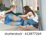 mom and daughter are hugging in ... | Shutterstock . vector #613877264
