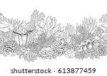 hand drawn underwater natural... | Shutterstock .eps vector #613877459