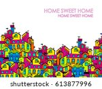 hand drawn pattern with doodle... | Shutterstock .eps vector #613877996