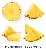 pineapple fruit collection... | Shutterstock . vector #613879646