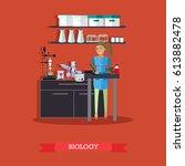 biology concept vector... | Shutterstock .eps vector #613882478