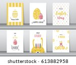 set of easter greeting cards... | Shutterstock .eps vector #613882958