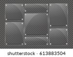 glass plates are installed.... | Shutterstock .eps vector #613883504
