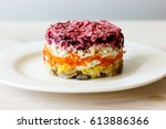 Stock photo dressed herring or herring under a fur coat traditional russian cuisine layered salad composed of 613886366