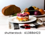 Stock photo dressed herring or herring under a fur coat traditional russian cuisine layered salad composed of 613886423