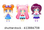 Set Of Little Cute Girls Vector