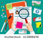 clipboard with patient card and ... | Shutterstock .eps vector #613888658