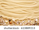 Seashells On Sand. Sea Summer...