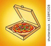 fresh pizza in box pop art hand ... | Shutterstock .eps vector #613891328