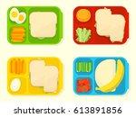 open plastic school lunch box.... | Shutterstock .eps vector #613891856