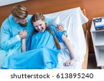pregnant woman giving birth in... | Shutterstock . vector #613895240