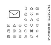 mail icon in set on the white...