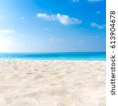 perfect beach background scene. ... | Shutterstock . vector #613904678