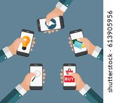 mobile apps concept online... | Shutterstock .eps vector #613905956