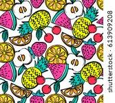 fashion girlish funny... | Shutterstock .eps vector #613909208
