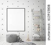 mock up poster frame in... | Shutterstock . vector #613915808