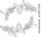 vintage flowers seamless... | Shutterstock .eps vector #613917554