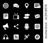vector white media icons set on ... | Shutterstock .eps vector #613918070