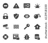 vector black security icons set ...   Shutterstock .eps vector #613918100