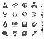 vector black science icons set... | Shutterstock .eps vector #613918118