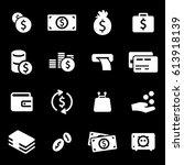 vector white money icons set on ... | Shutterstock .eps vector #613918139