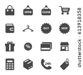 vector black shop icons set on... | Shutterstock .eps vector #613918358