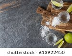 tequila silver with lime and... | Shutterstock . vector #613922450