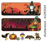 halloween horizontal cartoon... | Shutterstock .eps vector #61392424
