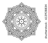 mandala. black and white... | Shutterstock .eps vector #613928834