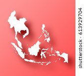southeast asia map isolated on... | Shutterstock .eps vector #613929704
